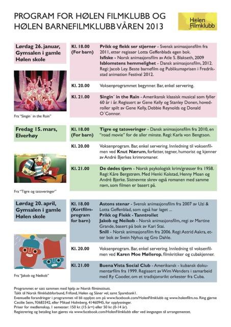 Filmprogram for våren 2013