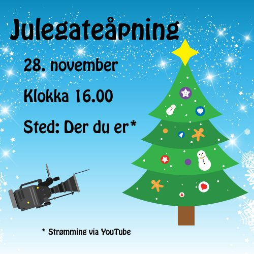 Illustrert invitasjon til julegateåpning, grønt juletre på blå bakgrunn