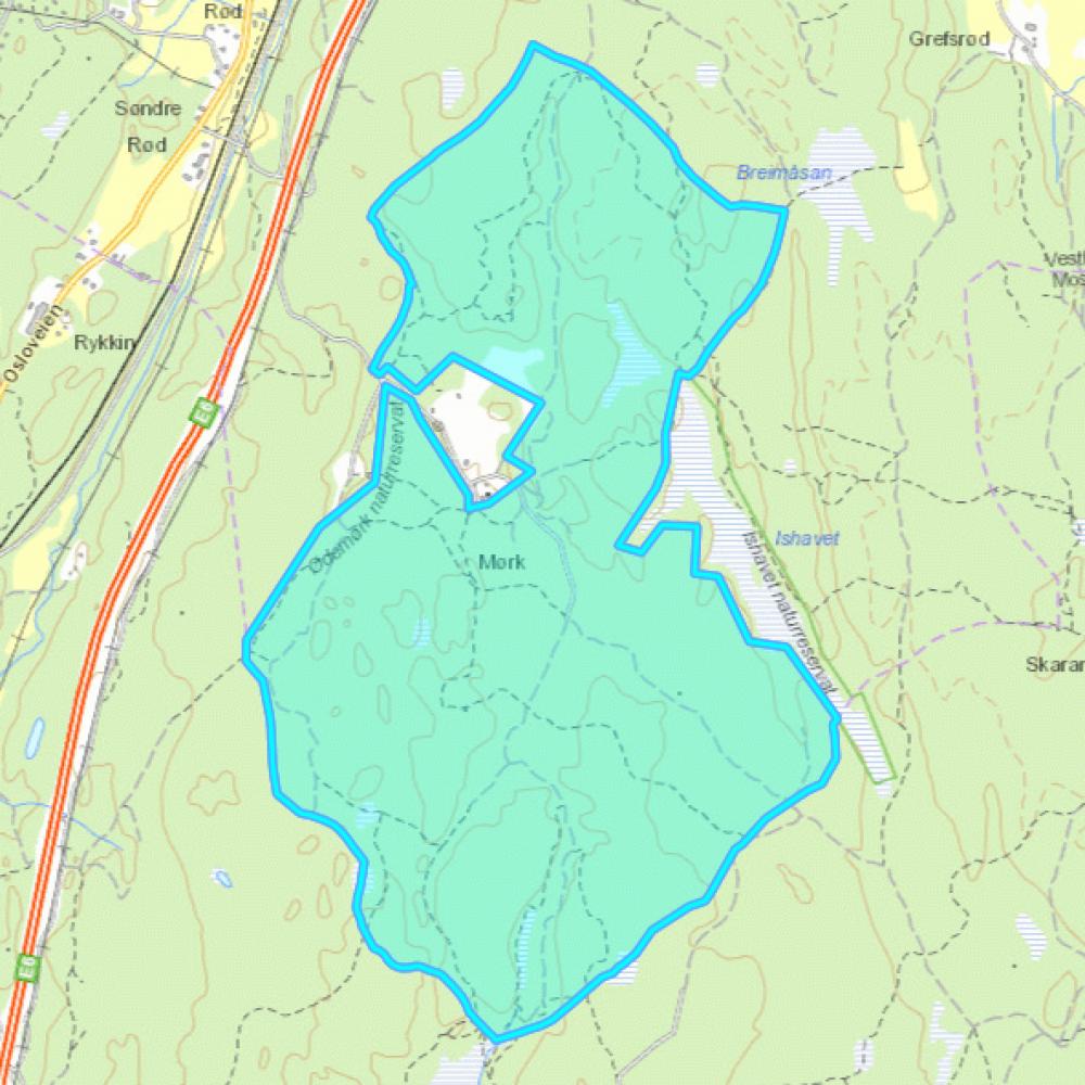 Kart som viser Ødemørk naturreservat