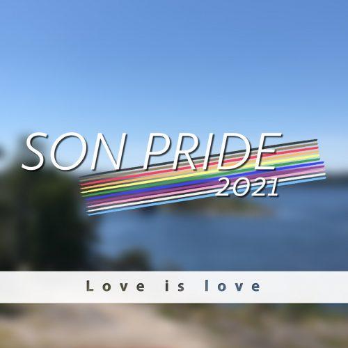 Bilde av Sonsstranda med teksten Son Pride over